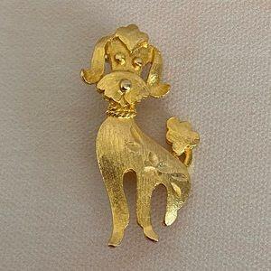 VINTAGE Gold Poodle Dog Brooch
